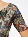 Платье трикотажное с вырезом-лодочкой oodji #SECTION_NAME# (разноцветный), 14007026-2B/42588/3775U - вид 5