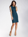 Платье трикотажное с декором из искусственной кожи oodji для женщины (зеленый), 24008300/35477/6E00N