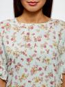 Блузка вискозная свободного силуэта oodji #SECTION_NAME# (зеленый), 11405138/46436/6543F - вид 4