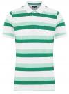 Поло полосатое из ткани пике oodji #SECTION_NAME# (зеленый), 5L412257M/44031N/1062S