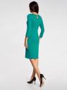 Платье трикотажное с вырезом-капелькой на спине oodji #SECTION_NAME# (зеленый), 24001070-5/15640/6D00N - вид 3