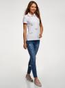 Поло из ткани пике с вышивкой oodji для женщины (белый), 19301001-12/46161/1019O