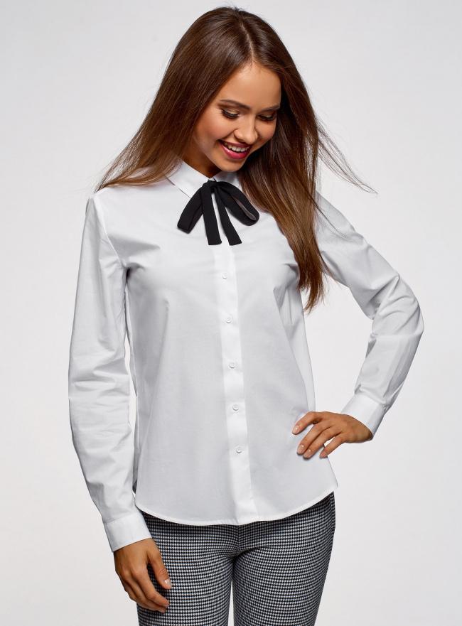 Рубашка хлопковая с завязками  oodji для женщины (белый), 13K11005/43609/1029B