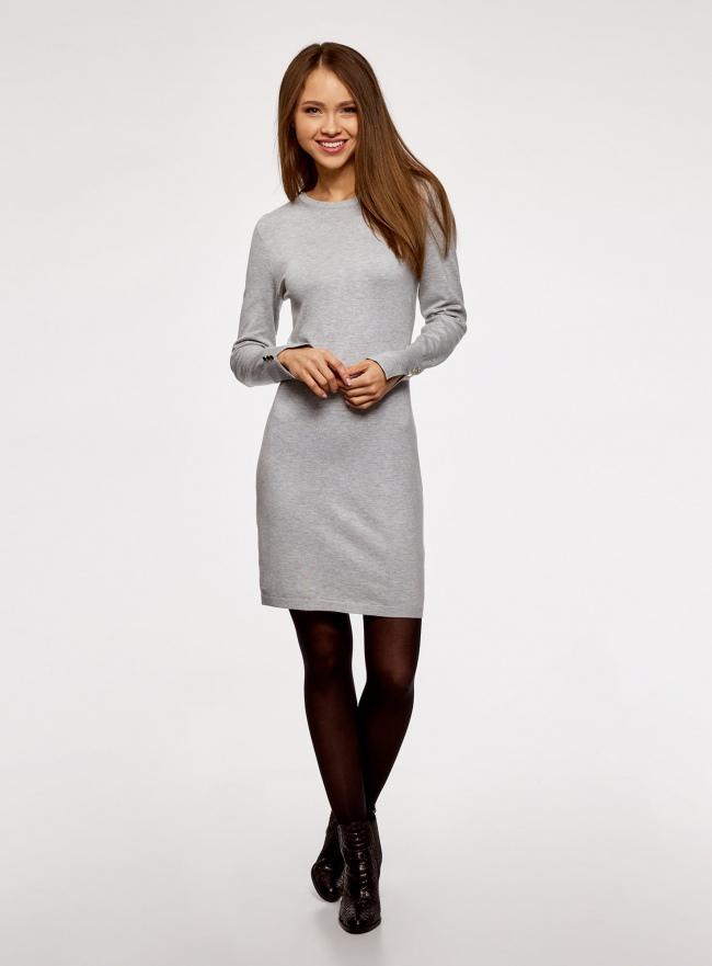 Платье базовое из вискозы с пуговицами на рукаве oodji #SECTION_NAME# (серый), 73912217-1B/33506/2000M