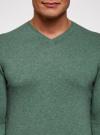 Пуловер базовый с V-образным вырезом oodji #SECTION_NAME# (зеленый), 4B212007M-1/34390N/6D00M - вид 4