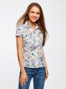 Блузка принтованная из легкой ткани oodji #SECTION_NAME# (белый), 21407022-9/12836/1019F - вид 2