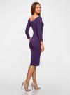 Платье облегающее с вырезом-лодочкой oodji #SECTION_NAME# (фиолетовый), 14017001-6B/47420/8800N - вид 3