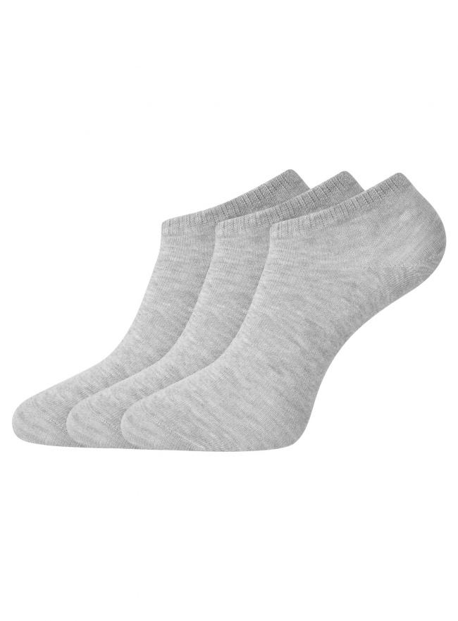 Комплект из трех пар укороченных носков oodji для женщины (серый), 57102433T3/47469/2000M