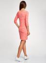 Платье трикотажное базовое oodji #SECTION_NAME# (красный), 14001071-2B/46148/4310S - вид 3