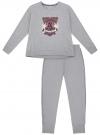 Пижама хлопковая с брюками oodji #SECTION_NAME# (серый), 56002224/46154/2049Z