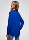 Блузка из струящейся ткани с металлическим украшением oodji #SECTION_NAME# (синий), 21414004/45906/7500N - вид 3