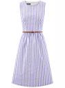 Платье с поясом без рукавов oodji #SECTION_NAME# (фиолетовый), 12C13008-1/46683/8012S