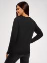 Свитшот хлопковый с вышивкой пайетками oodji для женщины (черный), 14808015-38/46151/2991P