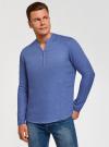 Рубашка льняная без воротника oodji #SECTION_NAME# (синий), 3B320002M/21155N/7500N - вид 2