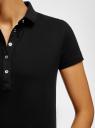 Платье-поло из ткани пике oodji для женщины (черный), 24001118-4B/48433/2900N
