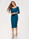 Платье облегающее с вырезом-лодочкой oodji #SECTION_NAME# (зеленый), 14017001/42376/6C01N - вид 6