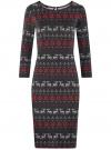 Платье трикотажное с вырезом-капелькой на спине oodji #SECTION_NAME# (черный), 24001070-5/15640/2945E