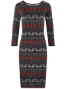 Платье трикотажное с вырезом-капелькой на спине oodji для женщины (черный), 24001070-5/15640/2945E