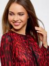 Блузка из струящейся ткани с контрастной отделкой oodji #SECTION_NAME# (красный), 11411059-2/38375/4529A - вид 4
