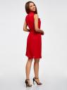 Платье из струящейся ткани с жабо oodji #SECTION_NAME# (красный), 21913018/36215/4500N - вид 3