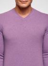 Пуловер базовый с V-образным вырезом oodji #SECTION_NAME# (фиолетовый), 4B212007M-1/34390N/8001M - вид 4