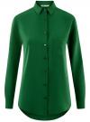 Блузка прямого силуэта с нагрудным карманом oodji #SECTION_NAME# (зеленый), 11411134B/46123/6E00N