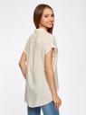 Блузка из вискозы с нагрудными карманами oodji #SECTION_NAME# (слоновая кость), 11400391-3B/24681/3000N - вид 3