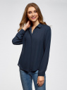 Блузка базовая из струящейся ткани oodji #SECTION_NAME# (синий), 11400368-8B/48854/7900N - вид 2