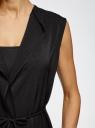 Жилет из струящейся ткани с поясом oodji для женщины (черный), 22305004-1/43859/2900N