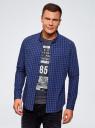 Рубашка хлопковая в клетку oodji #SECTION_NAME# (синий), 3L310168M/48837N/7975C - вид 2