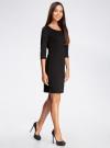 Платье трикотажное с рукавом 3/4 oodji #SECTION_NAME# (черный), 24001100/42408/2900N - вид 6