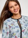 Блузка из струящейся ткани с контрастной отделкой oodji #SECTION_NAME# (серый), 11411059B/43414/2019F - вид 4