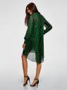 Платье шифоновое с асимметричным низом oodji для женщины (зеленый), 11913032/38375/6B29A
