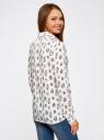 Блузка вискозная прямого силуэта oodji #SECTION_NAME# (белый), 11411098-3/24681/1229O - вид 3