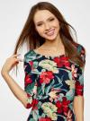 Платье трикотажное с цветочным принтом oodji #SECTION_NAME# (разноцветный), 14001121-1/16300/7919F - вид 4