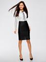 Платье комбинированное с кружевным верхом и юбкой из искусственной кожи oodji для женщины (белый), 21913014/45945/2912B