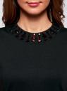 Платье трикотажное с декором из камней oodji #SECTION_NAME# (черный), 24005134/38261/2900N - вид 4