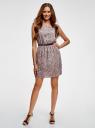 Платье принтованное из вискозы oodji #SECTION_NAME# (розовый), 11910073/26346/4B29E - вид 2