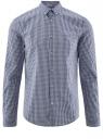 Рубашка хлопковая в клетку oodji #SECTION_NAME# (синий), 3L110319M/47823N/7975C