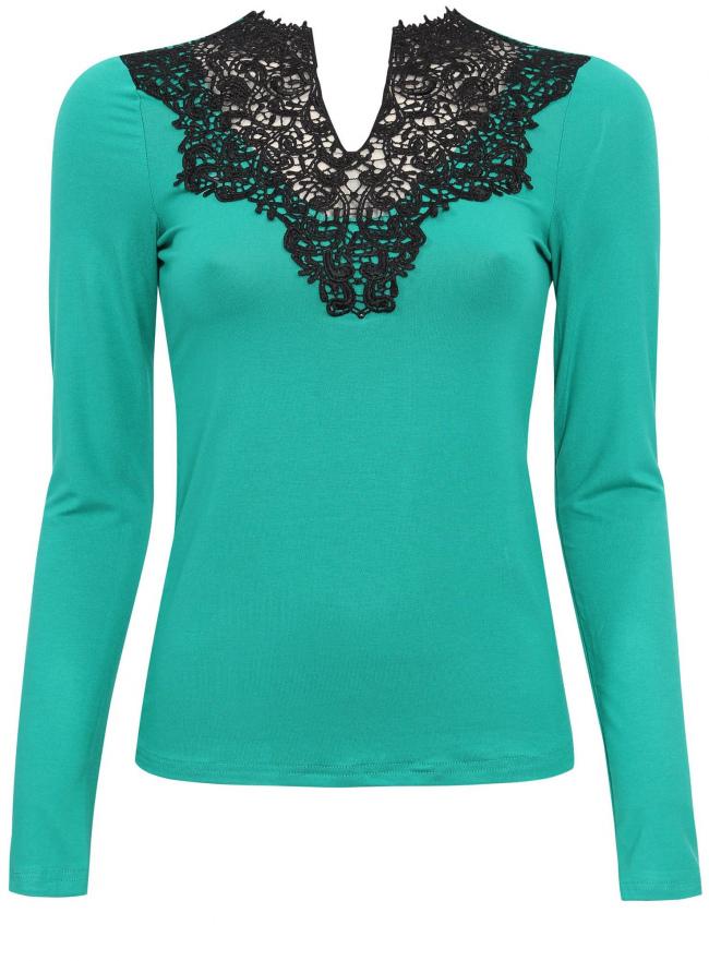 Трикотажная блузка oodji для женщины (зеленый), 21311030/45099/6D29L