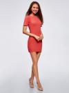 Платье прилегающего силуэта в рубчик oodji #SECTION_NAME# (красный), 14011012/45210/4300N - вид 6