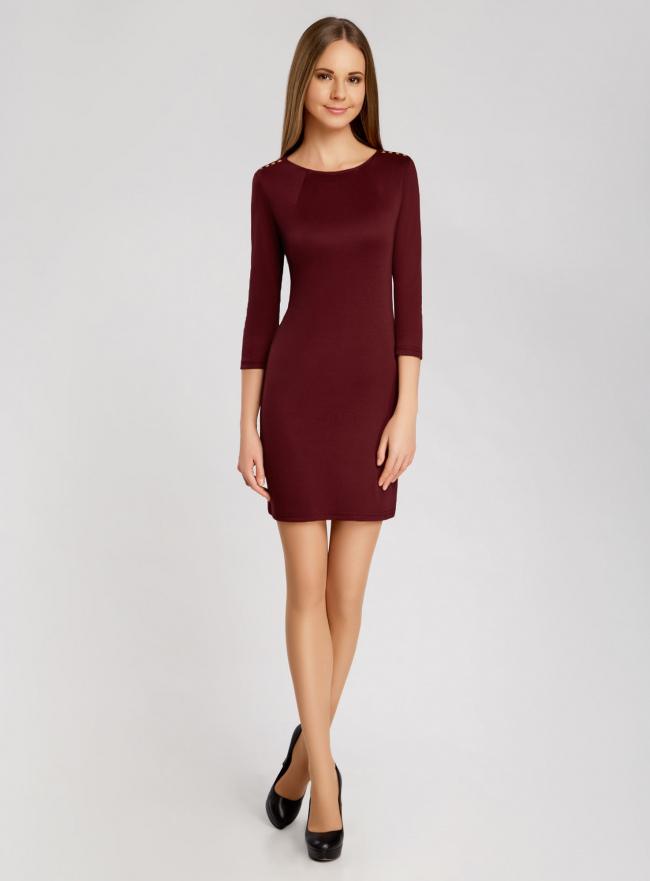 Платье с металлическим декором на плечах oodji для женщины (красный), 14001105-2/18610/4900N