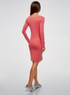 Платье трикотажное облегающего силуэта oodji для женщины (розовый), 14001183B/46148/4100N - вид 3