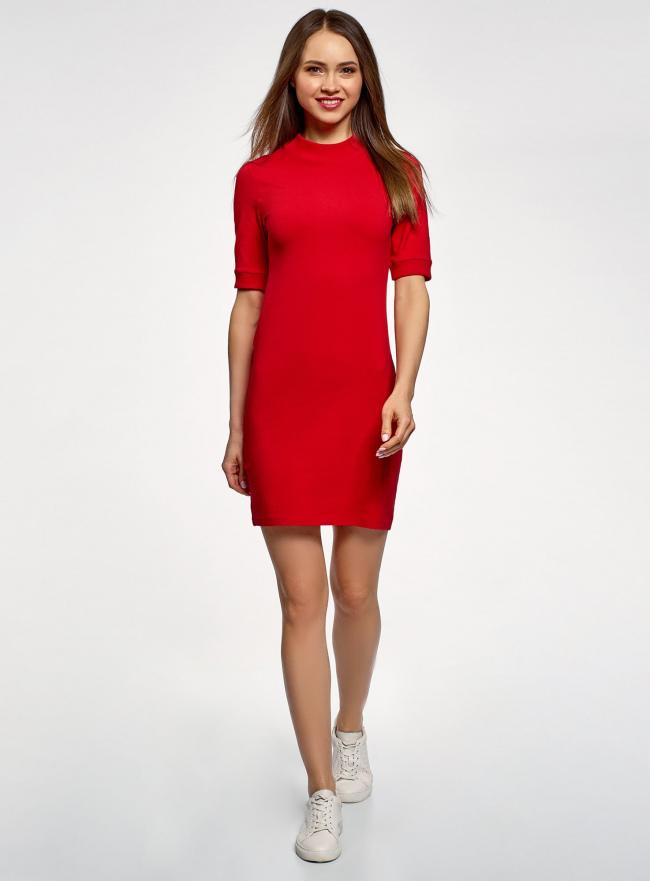 Платье трикотажное с воротником-стойкой oodji #SECTION_NAME# (красный), 14001229/47420/4500N