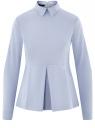 Блузка хлопковая с баской oodji #SECTION_NAME# (синий), 13K00001-1B/42083/7000N
