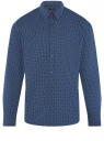 Рубашка хлопковая в мелкую графику oodji #SECTION_NAME# (синий), 3L110379M/49716N/7975G