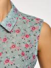 Топ из струящейся ткани с рубашечным воротником oodji #SECTION_NAME# (зеленый), 14903001B/42816/6543F - вид 5