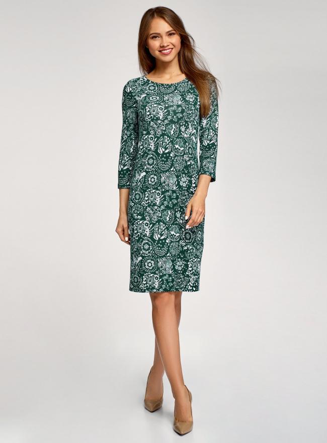 Платье трикотажное с вырезом-капелькой на спине oodji #SECTION_NAME# (зеленый), 24001070-5/15640/6910F