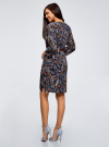 Платье вискозное с ремнем oodji для женщины (синий), 11900180B/48458/7919A - вид 3