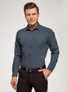 Рубашка slim с мелким геометрическим узором oodji #SECTION_NAME# (черный), 3L110216M/19370N/2975G - вид 2